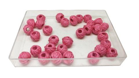 Aumni Crafts Handmade Cotton Thread Beads Ball For Jewellery Making 13x10mm Drum (Pack of 50 pieces) [Color 17-> Pink]