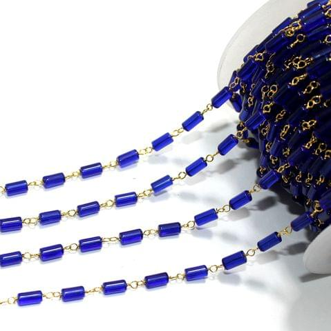 1 Mtr Glass Beaded Chain Blue