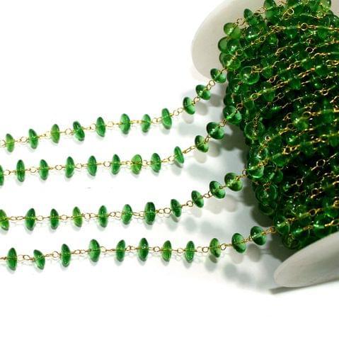 1 Mtr Glass Beaded Chain Green