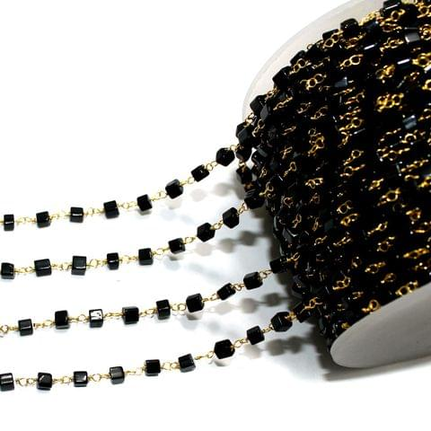 1 Mtr Glass Beaded Chain Black