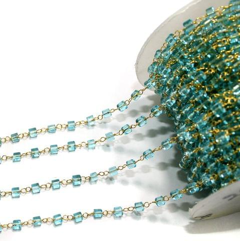 1 Mtr Glass Beaded Chain Sky Blue