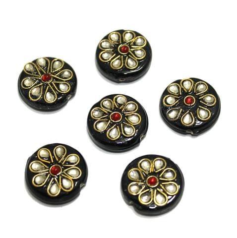 20 Pcs Round Disc Kundan Beads 18x18mm Black
