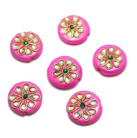 20 Pcs Round Disc Kundan Beads 18x18mm Hot Pink