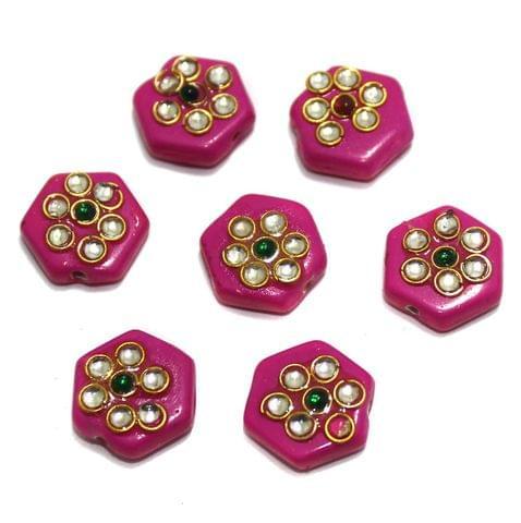 20 Pcs Hexagon Disc Kundan Beads 14x14mm Magenta