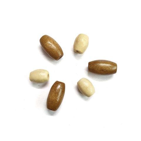 30 pcs, acrylic golden, cream drum barrel 6x12mm, 7x18mm shape beads with full hole (15 pcs each shape)