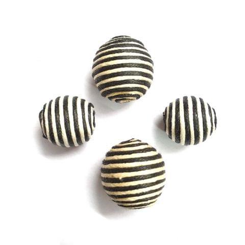 30 pcs, acrylic zebra round 22mm, 12mm shape beads with full hole (15 pcs each shape)