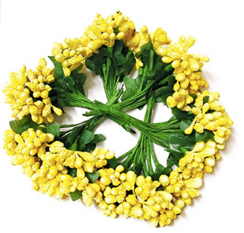 288pcs (24bunchx12pollen), yellow pollen for jewellery making, tiara making (1bunch=12 pollen)