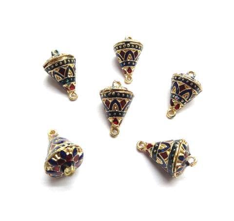 6 pcs, 12x19mm Dark Blue Maroon Meenakari Cone Shape Beads With Ring At Top At Bottom