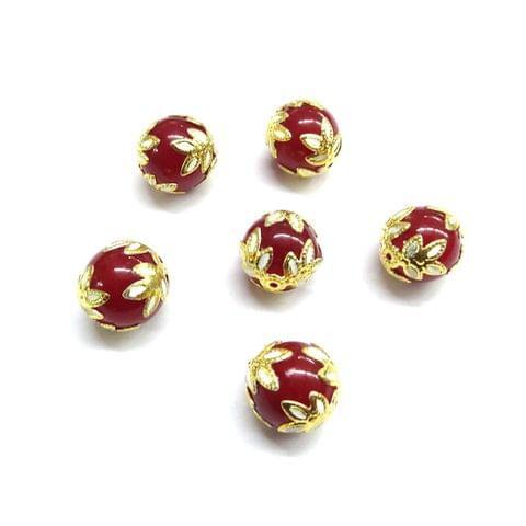 20 pcs, 12mm Designer Maroon Round Balls For Jewelry Making