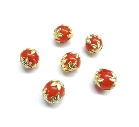 20 pcs, 12mm Designer Orange Round Balls For Jewelry Making