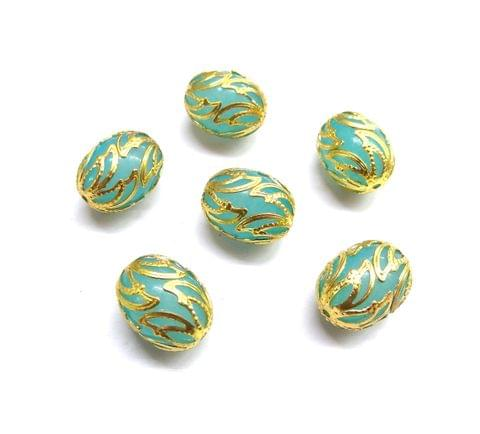 20 pcs, 12x16mm Blue Oval Shape Beads For Jewelry Making