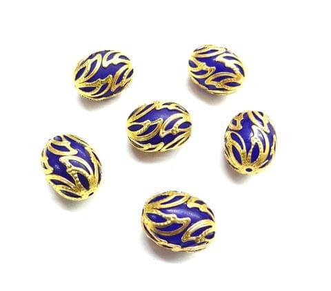 20 pcs, 12x16mm Dark Blue Oval Shape Beads For Jewelry Making