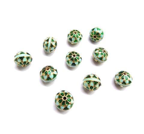 10 pcs, 10mm Turquoise Green High Quality Meena Ball