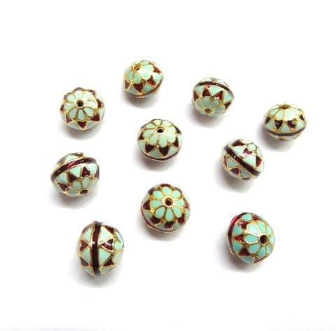 10 pcs, 10mm Turquoise Red High Quality Meena Ball
