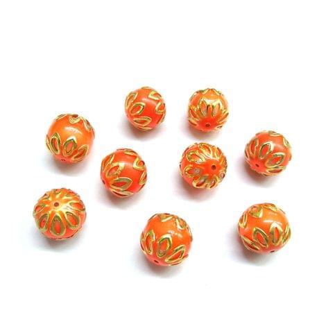 20 pcs, 12mm Orange Meenakari High Quality Ball