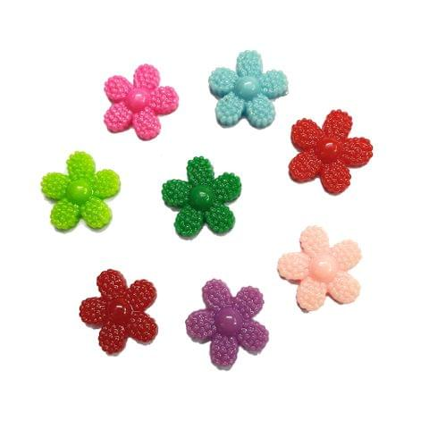 40 pcs, 8 color acrylic flower 12 mm with flat base (5each)