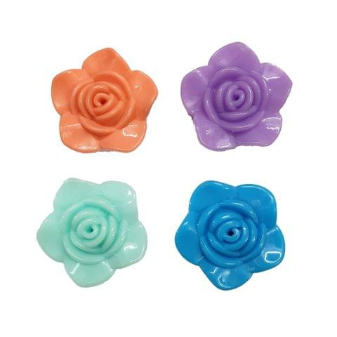 20 pcs, 4 color acrylic Flower shape 32 mm with full hole (5each)