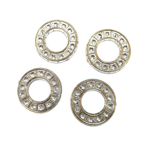 15 pcs, silver color acrylic round ring 22 mm with hole at top bottom