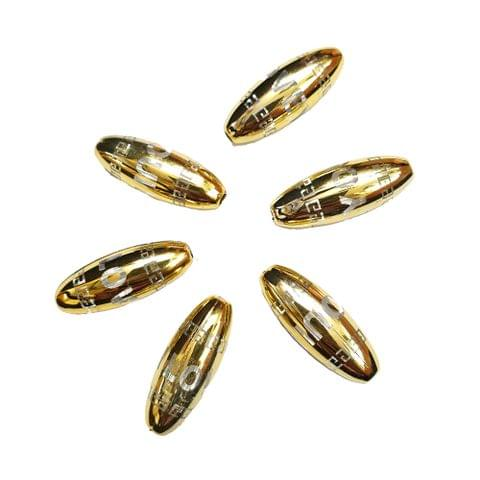 30 pcs, golden color acrylic barrel shape i love you beads 30 mm with full hole