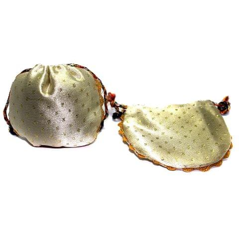 Cream Potli 4x4 Inch, Pack of 10 Pcs