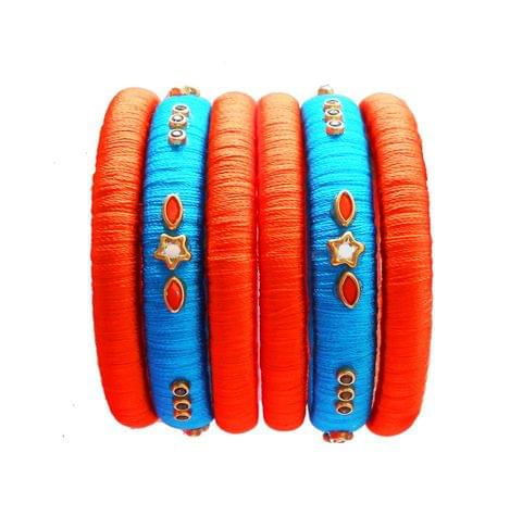 orange and blue silk thread bangle set