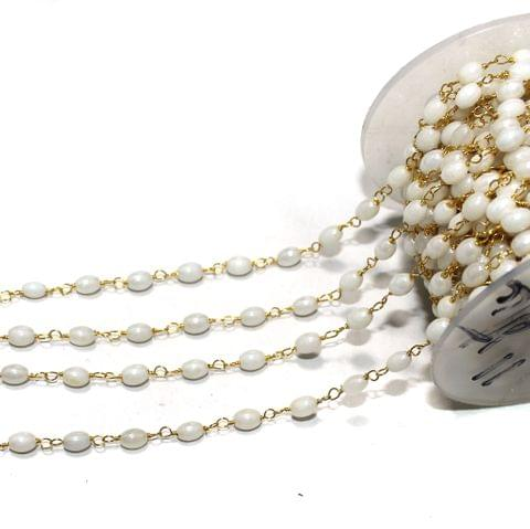 1 Mtr Glass Oval Beaded Chain White