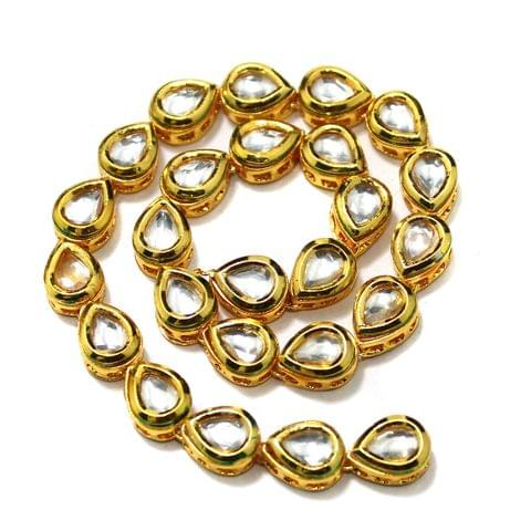 25 Pcs Kundan Kadi Drop Shape Golden 12x8mm