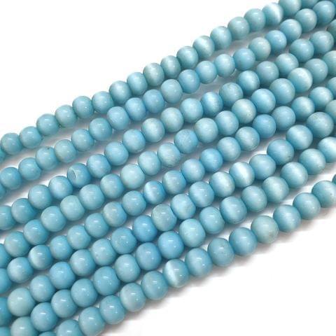 4 Strings, 8mm Blue Cat's Eye Bead Strings, 16 Inch (55+ Beads in each string)