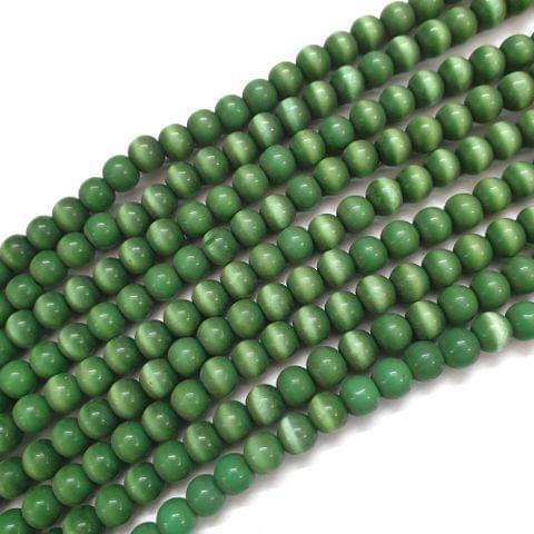 4 Strings, 8mm Green Cat's Eye Bead Strings, 16 Inch (55+ Beads in each string)