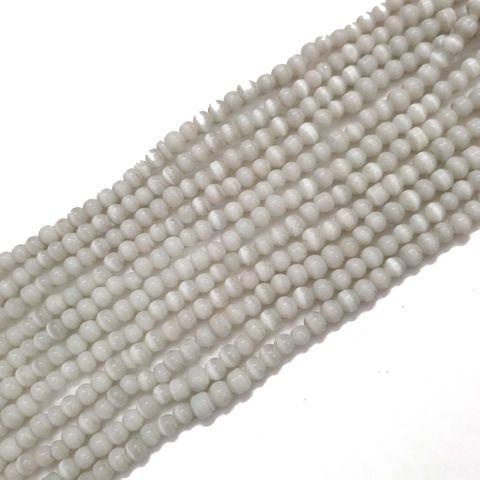 4 Strings, 4mm White Cat's Eye Bead Strings, 13 Inch (75+ Beads in each string)
