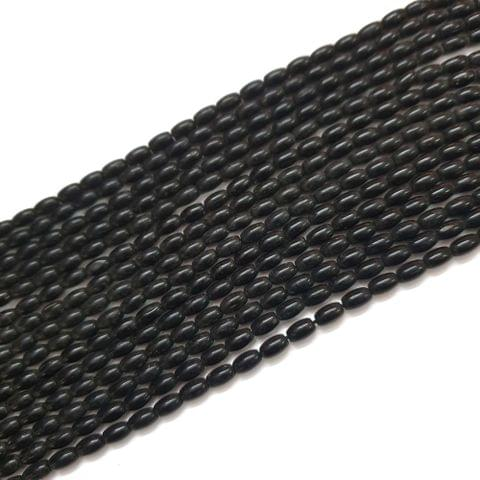 4 Strings, 8x4mm Black Drum Barrel Bead Strings, 13 Inch (40+ Beads in each string)