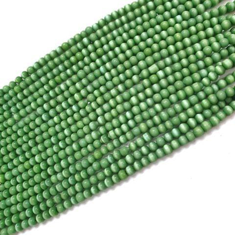 4 Strings, 3mm Green Cat's Eye Bead Strings, 14 Inch (90+ Beads in each string)
