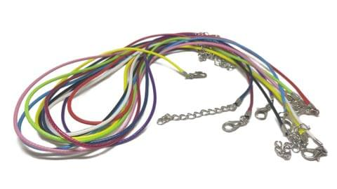 Jewellery Making Necklace Cords with Waxed Cotton 1.5mm Cord 16 to 17 Inch (10 Mixed Colors)