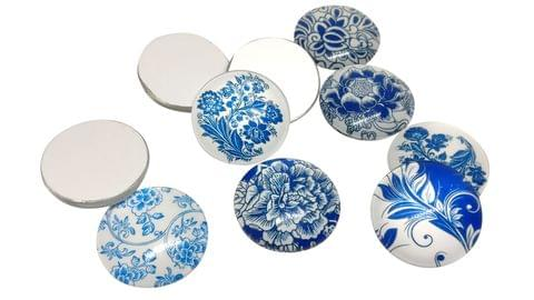 Glass Patches Embellishments Cabochons Random Design Print 20x6mm Round Blue/Dark Blue/Black (Pack of 20 pieces)