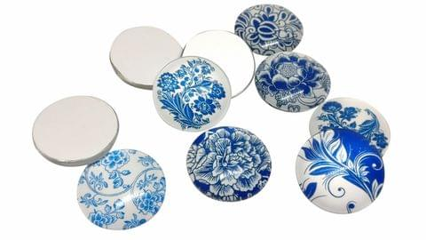 Glass Patches Embellishments Random Flower Print Cabochons 18x5mm Round Blue (Pack of 20 pieces)