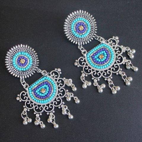 Turquoise German Silver Afghani Earrings