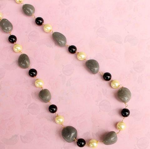 Angelite palm stone Pearl Necklace