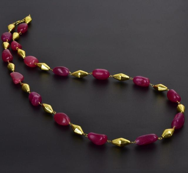 Pink Tumble Onyx and Golden Dolki Long Necklace
