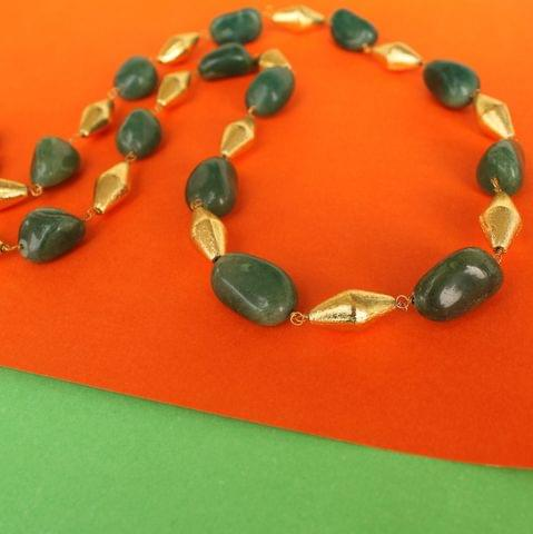 Green Tumble Onyx and Golden Dolki Long Necklace