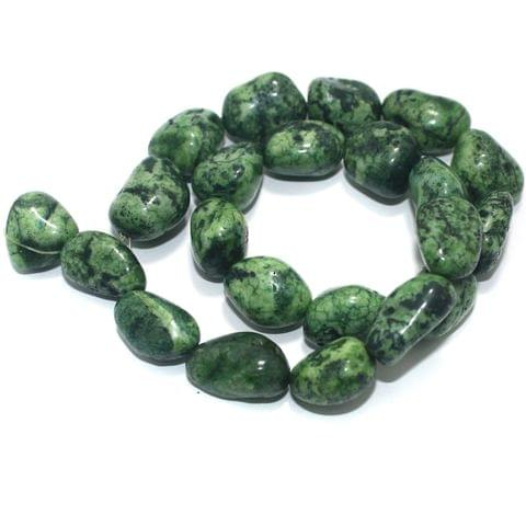 Tumbled Tree Agate Green Stone Beads 20-14 mm