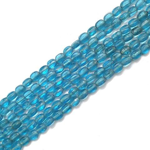 Blue Oval Glass Bead Strings