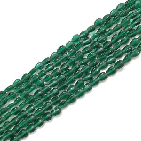 Dark Green Drop Glass Bead Strings