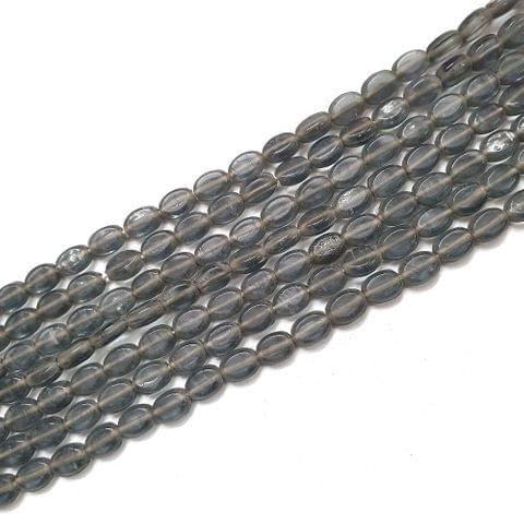 Grey Oval Glass Bead Strings