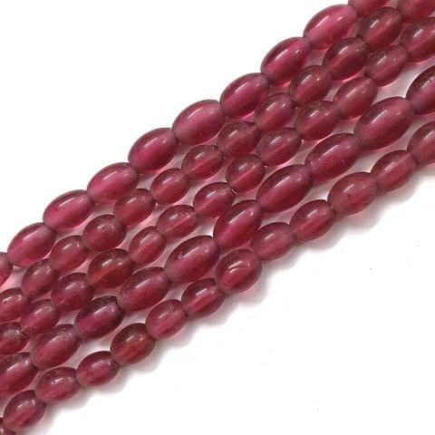 Dark Pink Oval Glass Bead Strings
