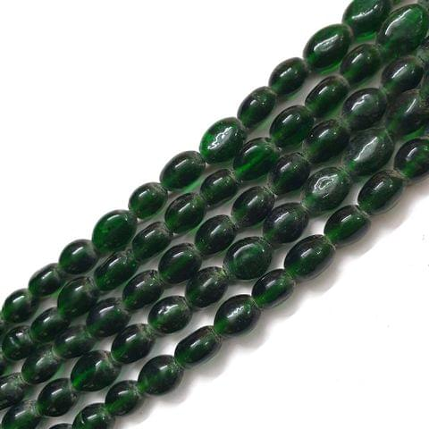 Dark Green Oval Glass Bead Strings