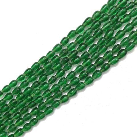 Opaque Green Drop Glass Bead Strings