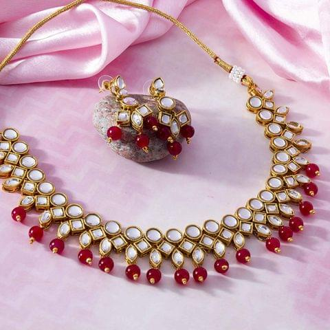 Traditional Beads & Kundan Studded Gold Plated Necklace Set for Women/Girls Red