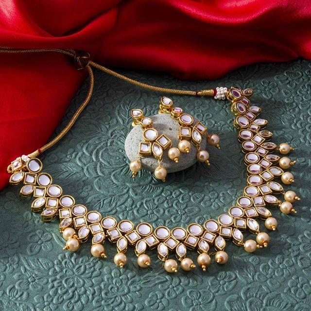 Shama Kundan Gold Plated Necklace Set