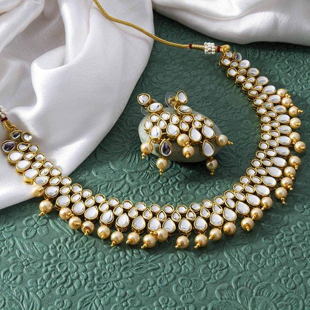 Beads & Kundan Studded Gold Plated Set
