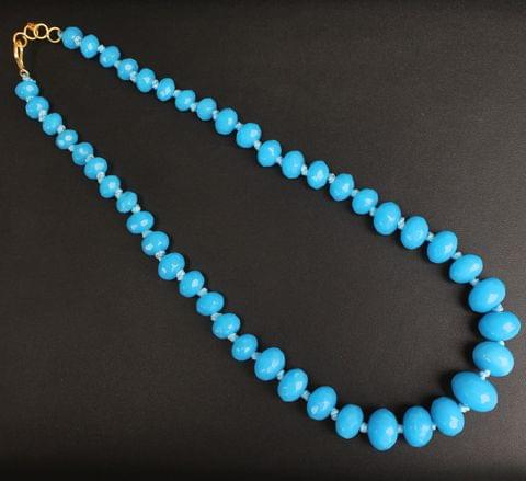 Turquoise Rondelle Faceted  Crystal Glass Necklace